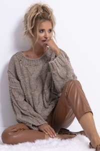 Sweter CHUNKY KNIT F776 mocca